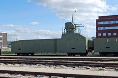 Gepanzerter Zug mit der Flugabwehr-Stellung Ausstellung des technischen Museums von Sakharov Togliatti Russland Lizenzfreie Stockfotos