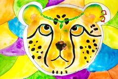 Gepard akwareli ilustracja, rysująca ręcznie royalty ilustracja