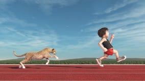 Gepard, der einen Mann jagt vektor abbildung