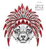 Gepard in der indischen Hinterwelle Indischer Federkopfschmuck des Adlers Vektorillustration des Handabgehobenen betrages Stockfotos