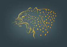 Gepardlogo, leopardsymbol och vildkattbegreppsdesign Royaltyfri Fotografi