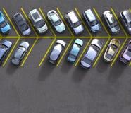 Geparkeerde auto's met één vrije vlek Royalty-vrije Stock Foto's