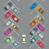 Geparkeerde auto's op de parkeren hoogste mening, Vectorstadsvervoerconcept royalty-vrije illustratie