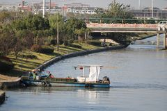 Geparkeerde de Boot van Shanghai stock afbeelding