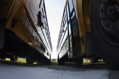 Geparkeerde schoolbussen Royalty-vrije Stock Afbeeldingen