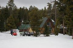 Geparkeerde Sneeuwscooters stock foto