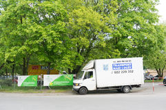 Geparkeerde vervoervrachtwagen Royalty-vrije Stock Afbeeldingen