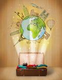 Gepäck mit Illustrationskonzept der Reise auf der ganzen Welt Stockfotografie