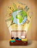Gepäck mit Illustrationskonzept der Reise auf der ganzen Welt Stockbild