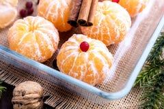 Gepeld mandarins Kerstmisfruit Stock Fotografie