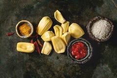 Gepeld rijp jackfruit stock afbeeldingen