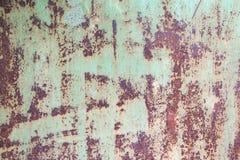 Gepeld Rusty Green Metal Wall Background, de Oude staal geschilderde plaat van het Containerhuis Royalty-vrije Stock Foto's
