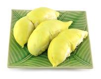 Gepelde durian op groene plaat Stock Fotografie