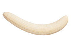 Gepelde gehele banaan die op witte achtergrond wordt geïsoleerd royalty-vrije stock fotografie