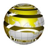Gepelde gestreepte 3D bolAarde Stock Foto's