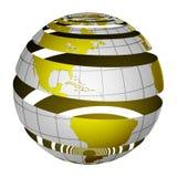 Gepelde gestreepte 3D bolAarde Royalty-vrije Stock Foto's