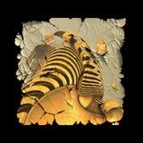Gepelde plastic die sticker met fractal wordt opgesmukt vector illustratie