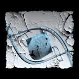 Gepelde plastic die sticker met fractal wordt opgesmukt stock illustratie