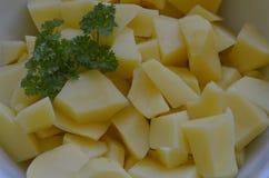 Gepelde potatos met peterselie in witte kom Royalty-vrije Stock Afbeelding