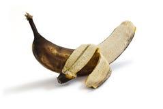 Gepelde rotte banaan Stock Foto's