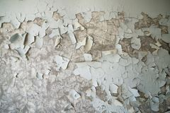 Gepelde verf op de muur van een troosteloos gebouw in verlaten Pripyat De streek van Tchernobyl, spookstad royalty-vrije stock fotografie