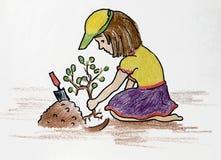 Gepflanztes Blumenmädchen Stockfotografie