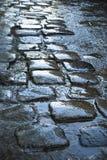 Gepflasterte Straße im Regen Lizenzfreie Stockfotografie