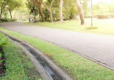 Gepflasterter Weg in einem schönen Garten Stockfotos
