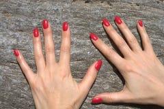 Gepflegte und sexy Hände auf dem Felsen mit rotem Nagellack stockbild