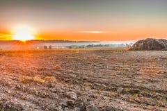Gepflogen, nachdem ein Feld nahe Kiew, Ukraine geerntet worden ist stockfotos