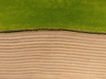 Gepflogene und Rasenfläche-Vogelperspektive Stockfotos