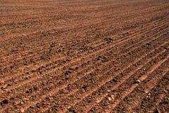 Gepflogener Boden eines landwirtschaftlichen Feldes Lizenzfreies Stockfoto
