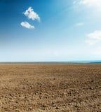 Gepflogenes Feld und blauer Himmel mit Wolken Lizenzfreie Stockbilder