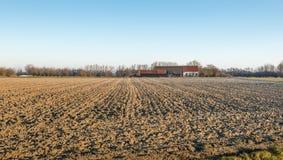 Gepflogenes Feld und ein Bauernhof Stockbilder