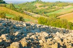 Gepflogenes Feld und Felder kultiviert in den Hügeln Lizenzfreies Stockbild