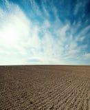 gepflogenes Landwirtschaftsfeld und -sonnenuntergang im blauen Himmel lizenzfreie stockfotografie