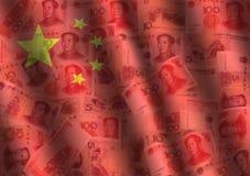 Geplätscherter Yuan und chinesische Markierungsfahne lizenzfreie abbildung