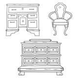 Geplaatst Antiqumeubilair - antieke die dienst, lijst, stoel op a wordt geïsoleerd vector illustratie