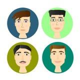 Geplaatst Avatars, men& x27; s hoofd, vlakke stijl, mannelijke karakters Stock Afbeelding