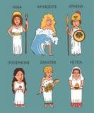 Geplaatst beeldverhaal oude Griekse vrouwelijke deities stock foto's