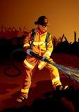 Geplaatst beroep: De vechter van de brand vector illustratie