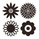 Geplaatst bloempictogram - gerbera, chrysant, zonnebloem en madeliefje Stock Afbeelding