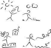 Geplaatst embleem/pictogram: Het spelen jonge geitjes royalty-vrije illustratie