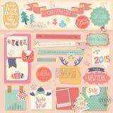 Geplaatst Kerstmisplakboek - decoratieve elementen Royalty-vrije Stock Afbeelding
