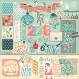 Geplaatst Kerstmisplakboek - decoratieve elementen Royalty-vrije Stock Foto's