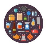 Geplaatst keukengerei Keukengerei, cookware, keukengereedschapinzameling Moderne vlakke geplaatste pictogrammen, grafische elemen Stock Afbeeldingen