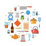 Geplaatst keukengerei Keukengerei, cookware, keukengereedschapinzameling Moderne vlakke geplaatste pictogrammen, grafische elemen Stock Foto's
