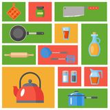 Geplaatst keukengerei Keukengerei, cookware, keukengereedschapinzameling Moderne vlakke geplaatste pictogrammen, grafische elemen Royalty-vrije Stock Foto's