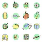 Geplaatst keukengerei en cookware hand getrokken pictogrammen Stock Foto's