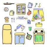 Geplaatst keukengerei en cookware hand getrokken pictogrammen, kokend hulpmiddelen en keukengereimateriaal, beeldverhaalontwerp v Stock Foto's
